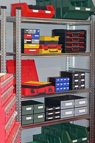 bins, trays, and boxes on shelves - for parts and tools