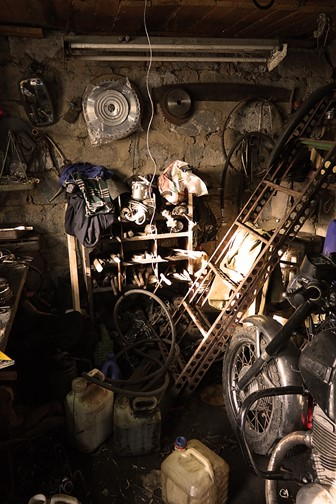 inside a messy garage