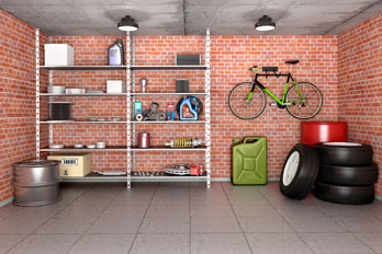 well-organized garage with red brick walls